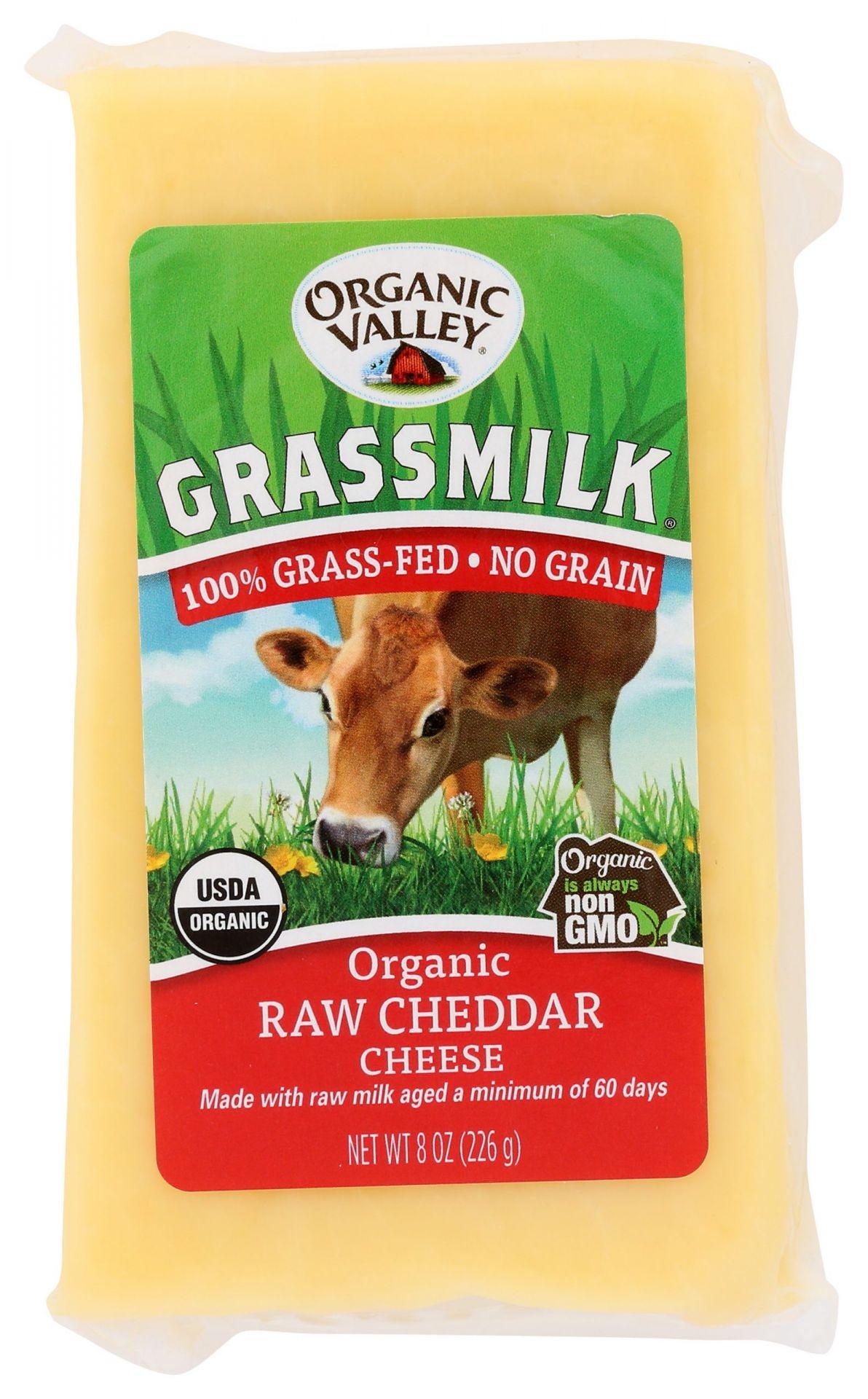 organic valley cheddar cheese grassmilk raw cheddar 8 oz